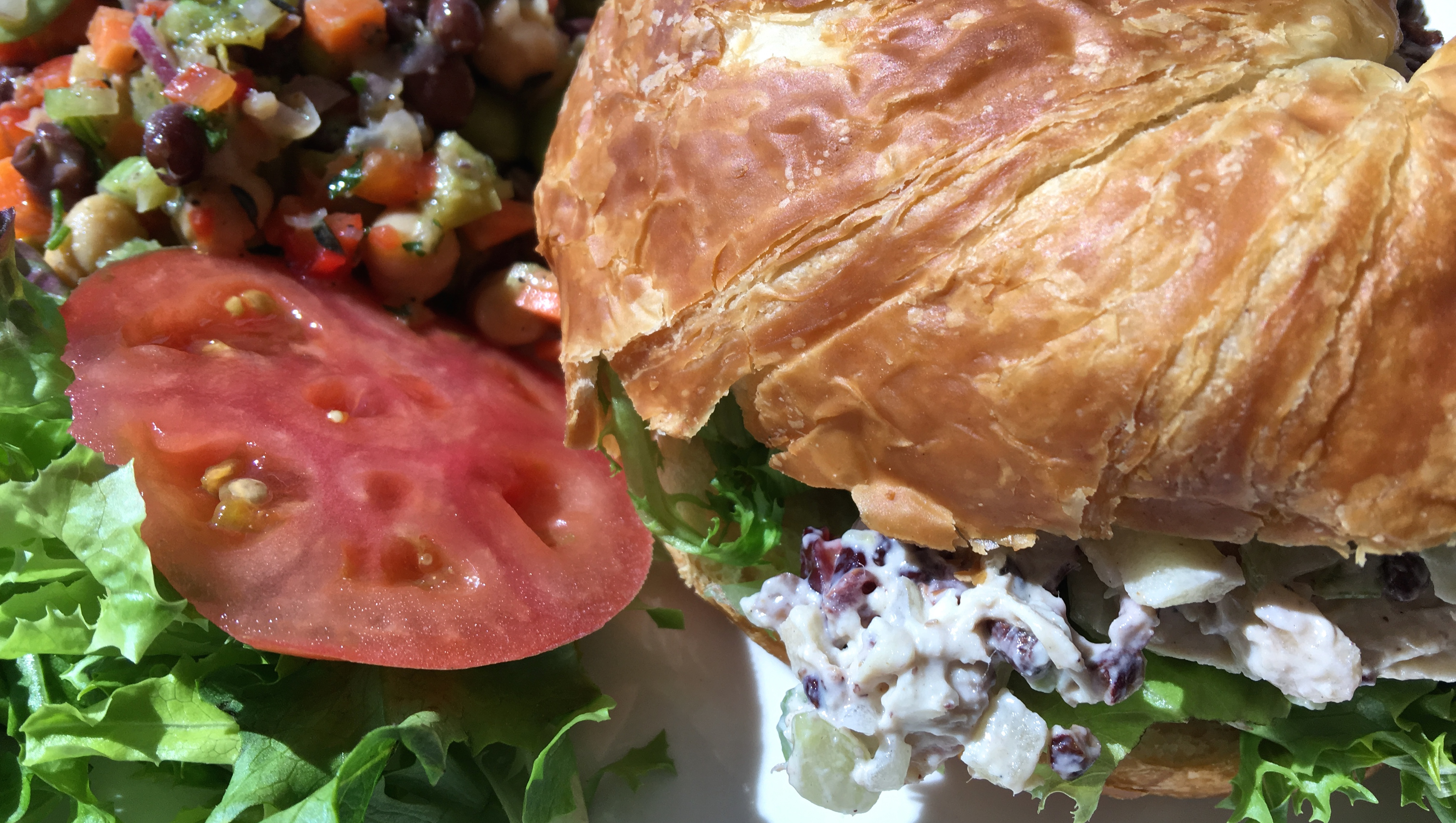 Autumn Harvest Chicken Salad on House-made Croissant, with Three Bean Salad, from the Oct. 20 Café lunch menu.