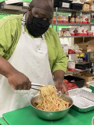 David making pasta casserole
